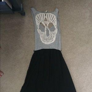 Hi low crochet back skull dress